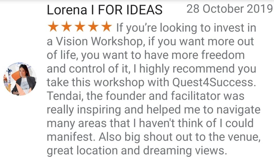 Vision Board Workshop Testimonial